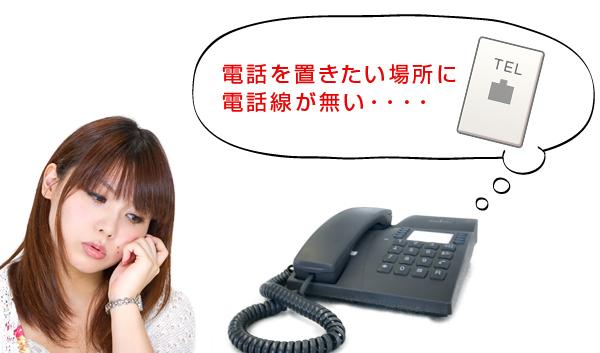 電話を置きたい場所に電話線が無い・・・・と悩む女性
