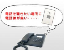 電話を置きたい場所に電話線が無い・・・・